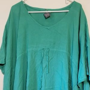 Green Lightweight Poncho, 100% Rayon, One size fit